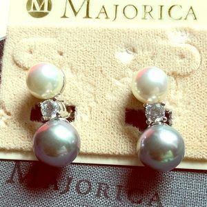 Majorica Grey and White Pearl S. Silver Earrings